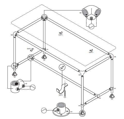 Tafel onderstel maken van steigerbuis op bouwtekening for Steigerhouten tafel met steigerbuizen zelf maken
