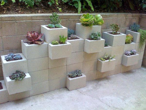 Plantenwand van constructieblokken, mini kool en vetplanten in bakken van beton.
