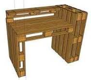 Tekening voor een bureau om te maken van vier pallets tegen elkaar gemonteerd.
