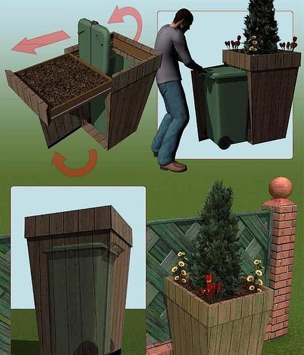 Tekening voor een kliko kast van steigerhout met bloembak.