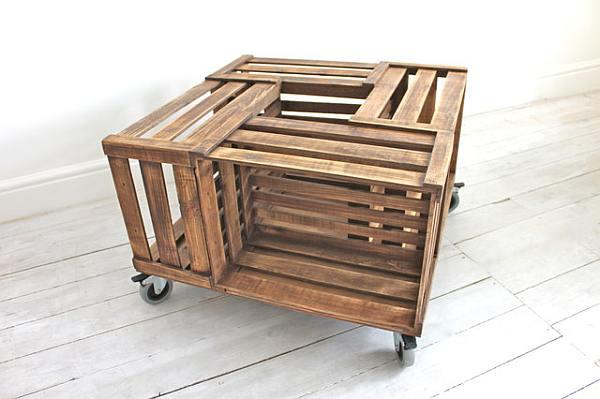 Kisten en kratten gebruiken voor eigen meubelbouw.
