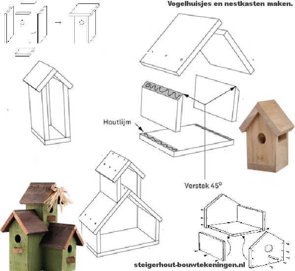 Zelf een steigerhouten nestkast maken, doe het zelf voorbeelden op bouwtekening.