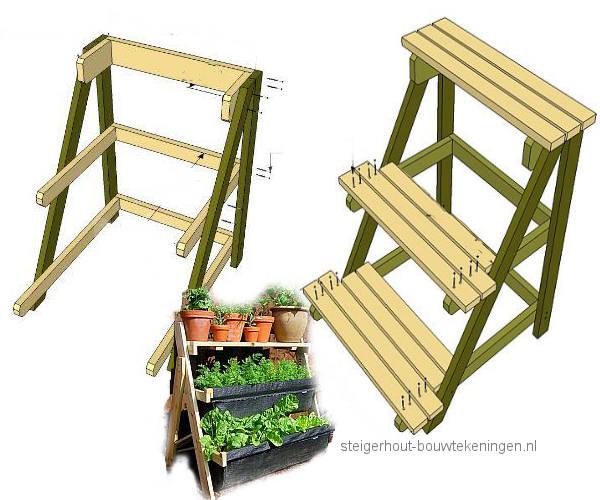Plantenbakken van steigerhout op een houten rek met drie etages.