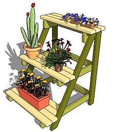 Houten rekje voor plantenbakken en potten.