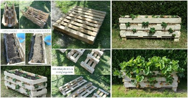Aardbeientoren maken van pallets steigerhout plantenbakken - Voorbeeld van tuindecoratie ...