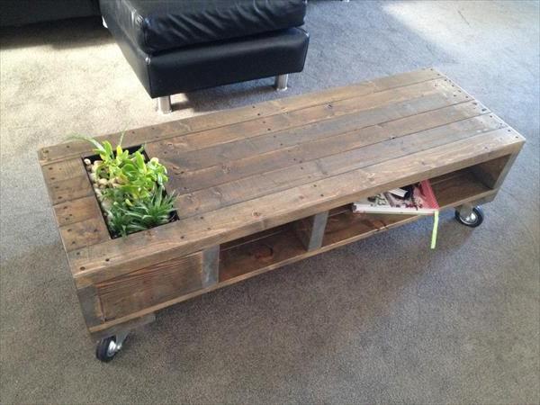 Plantenbak tafel plantjes en flessenkoeling het tafelblad for Tafel van steigerplanken
