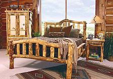 Een bed maken van rondhout.