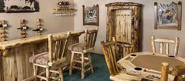 Meubels maken van takken, rustiek meubilair.