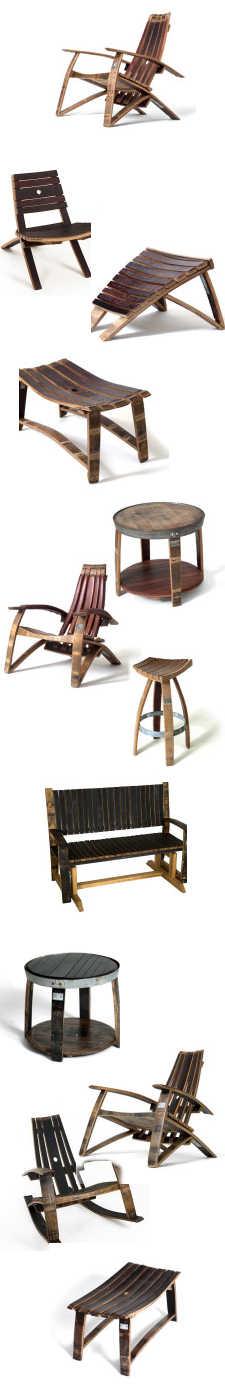 Wijnton en losse duigen van een wijnvat gebruiken om meubels te maken, doe het zelf.