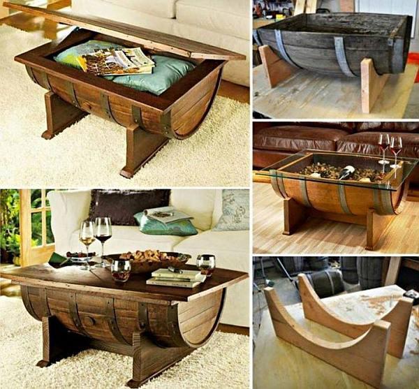 Wijnvat meubelen tafels stoelen en banken van eiken vaten - Wat op een salontafel ...