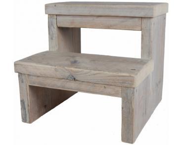 Simpel model voor een keukentrap om zelf te maken van steigerhout.