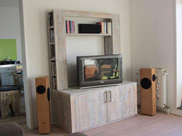 Steigerhout televisiekast om zelf te bouwen for Steigerhout tv meubel maken