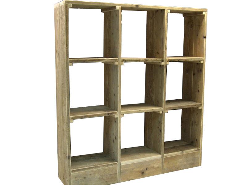 om zelf te maken van steigerhout een open vakkenkast als wandmeubel