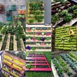 9 Foto's van een tuin in pallets.