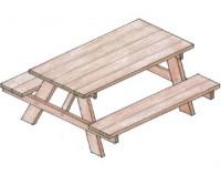 Bouwtekening voor picknicktafels met een A-Frame als onderstel.