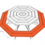 Achthoekige picknicktafels om zelf te maken, bouwtekening voor steigerhout.