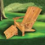 Klassiek model houten tuinstoel met voetenbank, om zelf te maken.