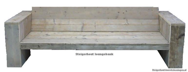 Loungebank bouwtekening voor steigerhout, doe het zelf voorbeeld om een steigerhouten tuinbank XL te maken.
