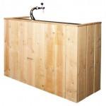 Bouwtekening voor een steigerhouten tuinbar.