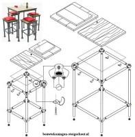 Bouwtekening voor metalen barkrukken met steigerhout.