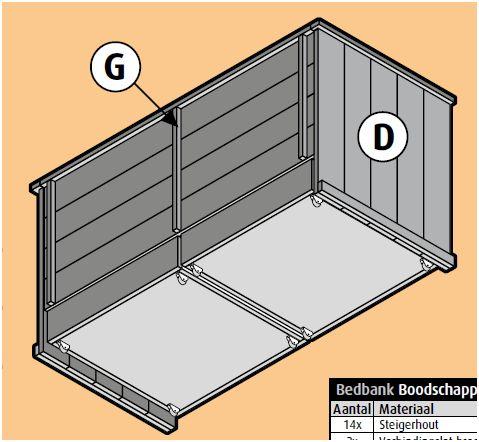 Bank en bed met laden, steigerhout bouwtekening voor een drie in één bankbed.