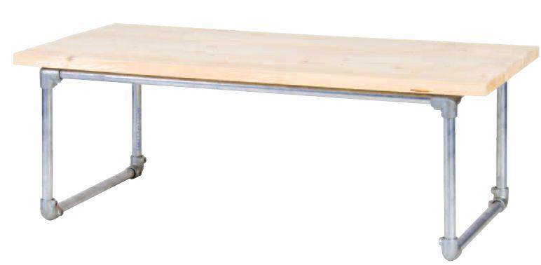 Langwerpige bijzettafel van steigerbuizen en steigerhout for Tafel van steigerplanken