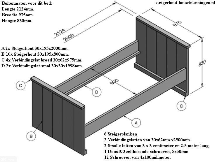 Bouwtekening voor een bed van steigerhout.