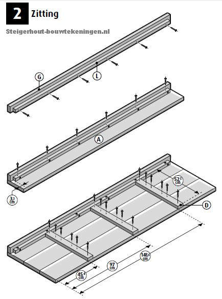 Maak een zitting voor de loungebank volgens deze drie voorbeelden op bouwtekening.