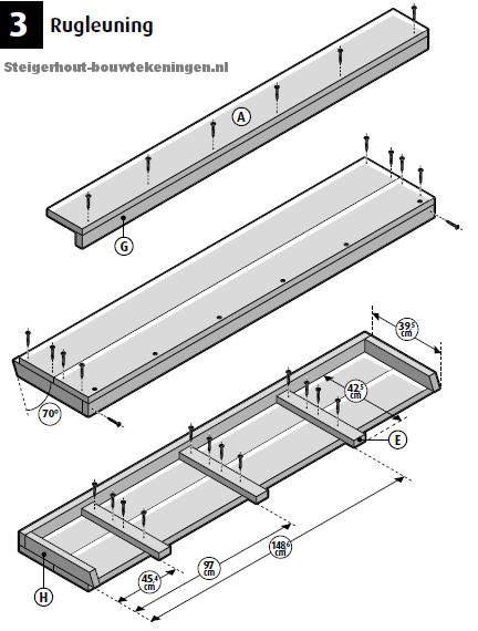 Bouwtekening om de leuning voor een loungebank XL te maken, details van de gratis bouwtekening.