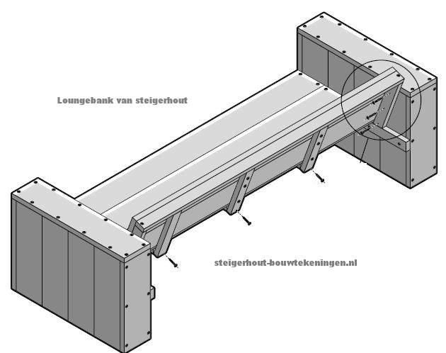 Bouwtekening voor steigerhout tuinbanken loungebank xl for Steigerhouten bank bouwtekening