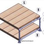 Op deze bouwtekeningen staan de onderdelen voor een tafel van steigerbuis gemarkeerd.