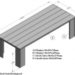 Maak deze tafel zelf van steigerhout. Eenvoudige bouwtekening met onderdelenlijst.