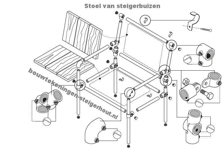 Maak deze stoel zelf van steigerbuizen en een steigerplank.