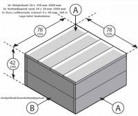 Bouwtekening doe het zelf voorbeeld om een lage tafel te maken van steigerhout.