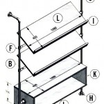 Losse bouwtekening onderdelen voor een lectuurrek wandmeubel van steigerbuis en buiskoppelingen.