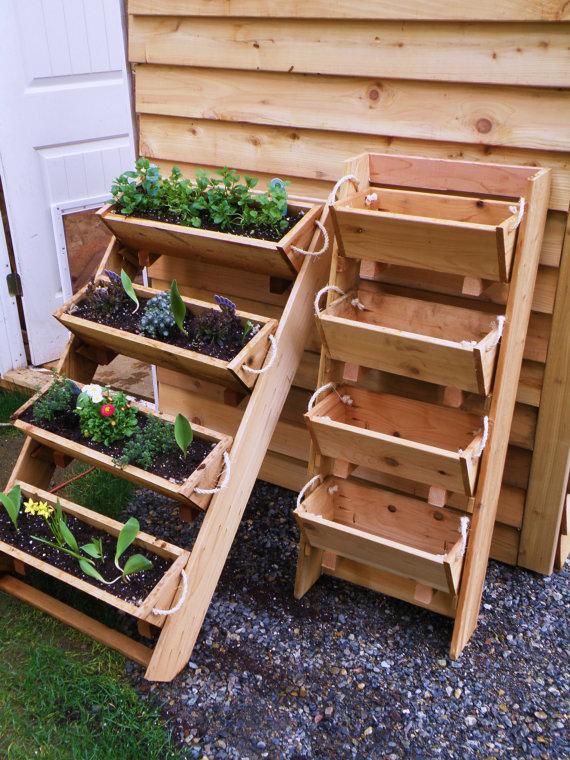 Bekend Plantenbakken maken, houten rek voor planten op drie etages. #DZ64