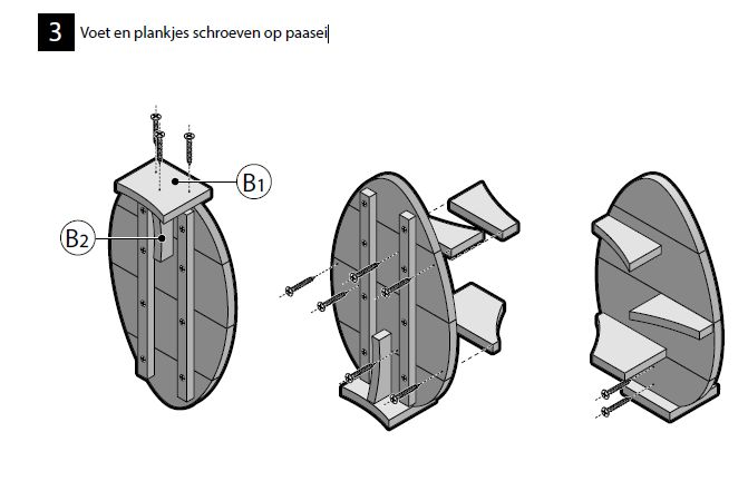 Eindmontage van een houten paasei, een bouwtekening voor Gamma steigerhout.