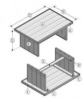 Gratis bouwtekeningen voor tuintafels, Gamma Cando steigerhout.