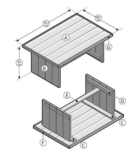 Steigerhout bouwtekening gamma tuintafel montage for Tuintafel steigerhout bouwpakket