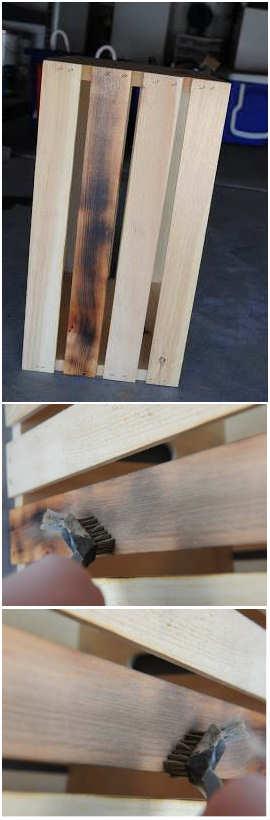 De houtnerf wordt omhoog gehaald door de toplaag te branden en weg te borstelen.
