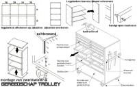 Gereedschapkar maken, bouwtekening voor een gereedschap trolley van hout.