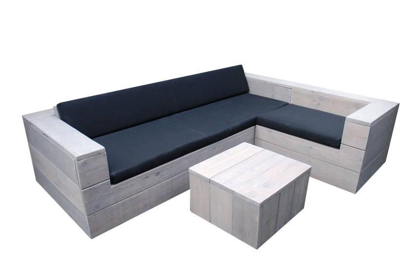 Steigerhouten loungebank l vorm op maat gemaakt