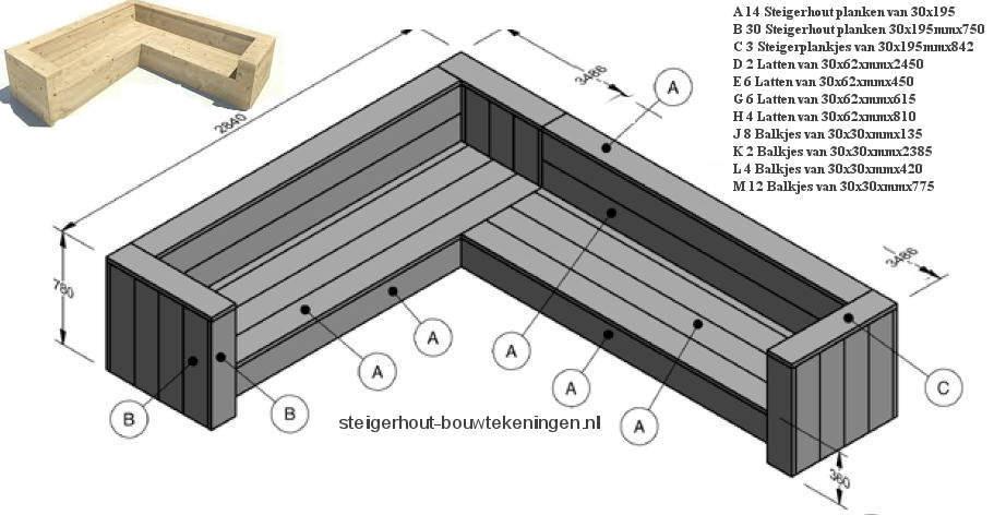 Hoekbank van steigerhout, gratis bouwtekeningen