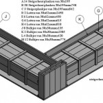 Gratis bouwtekening met zaaglijst om een hoek tuinbank te maken van steigerhout.