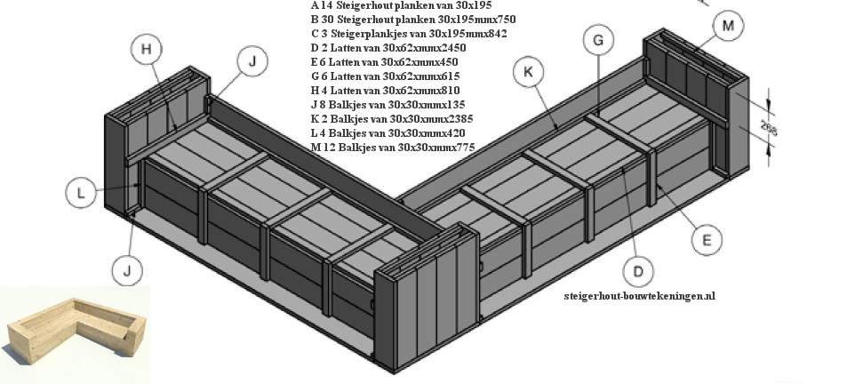 Gratis bouwtekening met zaaglijst om een hoek tuinbank te maken van ...