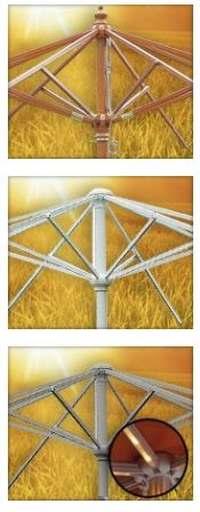 Tuinparasol opties, meerdere mogelijkheden om zelf een parasol te maken met losse onderdelen.