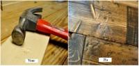 Één van de hout verouderingsmethodes is het opzettelijk aanbrengen van beschadigingen in het hout.