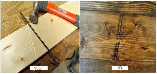 Houtverouderingstechniek om donkere lijnen in het hout te maken.