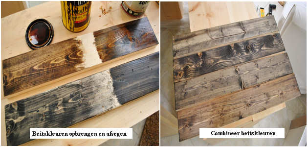 Het keukenblok en de buitenkeuken beitsen voor een sloophout effect.