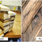 Nieuw hout verouderen, voor en na de behandeling.